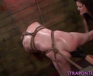 Gagged sub slave gets wam