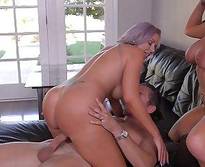Busty bombshells Romi Rain & Nina Elle get their big round tits fucked hard