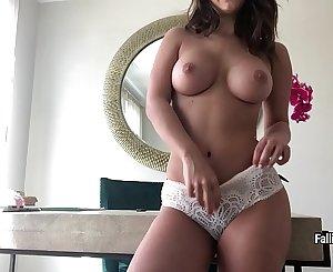 Eva Lovia masturbates her wet hairy pussy