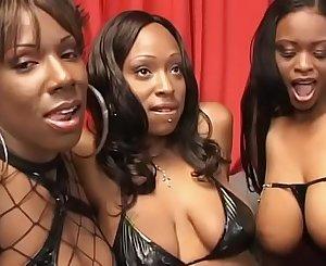 Hardcore lesbian activity with three black sluts Lola Lane, Xxxplicit, Skyy and their sex toys