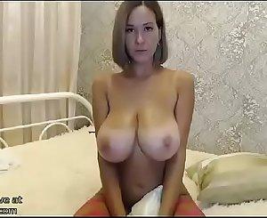 Huge tits Milf in fishnet stockings